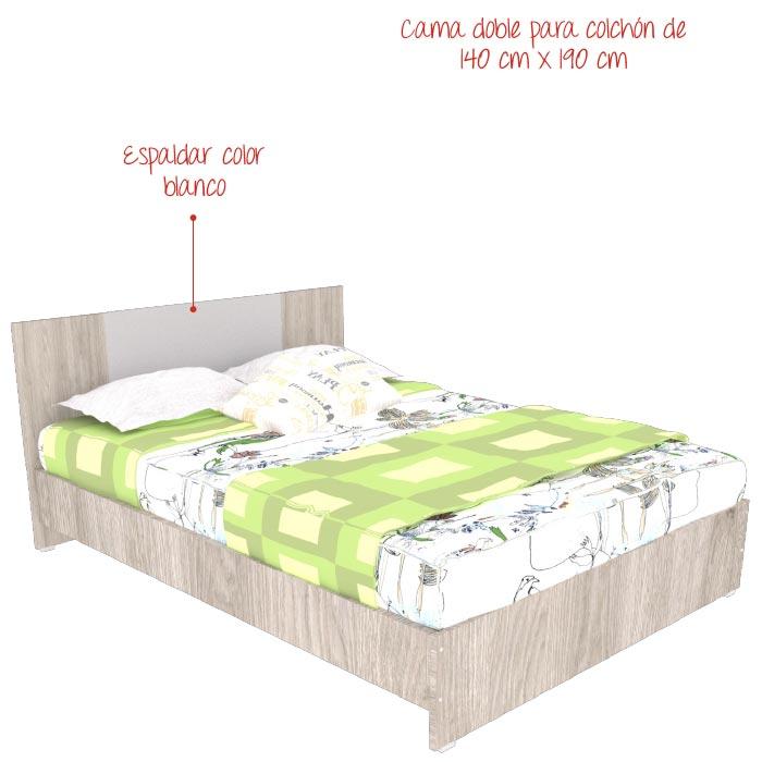 Cama Cosette MADERKIT Ceniza Blanco Alkosto Tienda Online