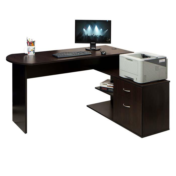 Escritorio en l moduart wengue alkosto tienda online for Dimensiones de escritorios de oficina